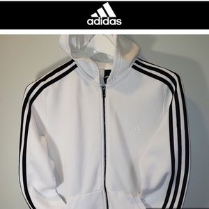 🕶Zip-Up Hoodie-Adidas Three Stripes-White-Large
